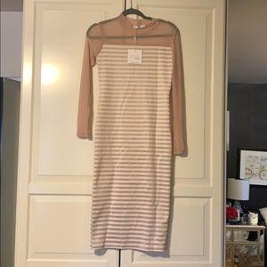 Long blush and white stripes, sheer sleeves dress